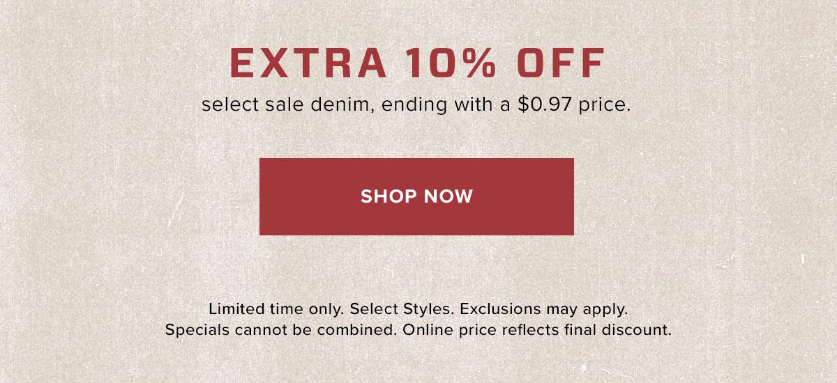 Extra 10% Off Select Sale Denim